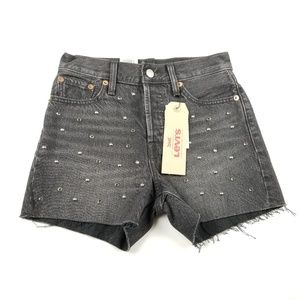 Levi's Wedgie Studded High Rise Jeans Shorts